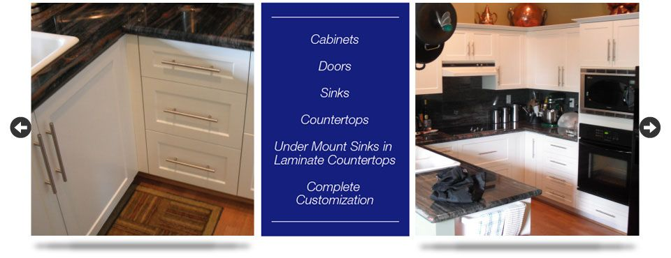 Cabinets - Doors - Sinks - Countertops - Under Mount Sinks - Complete Customization - kitchen