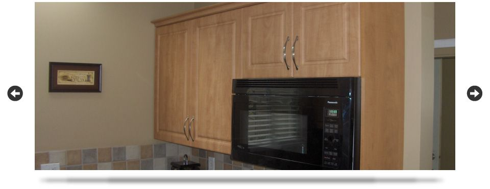 Microwave and cabinets